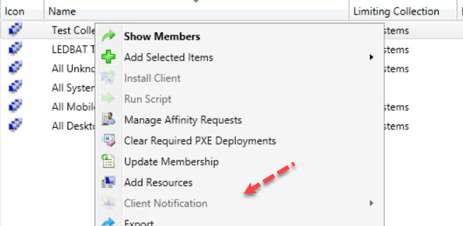 Enable Client Notification actions in ConfigMgr console