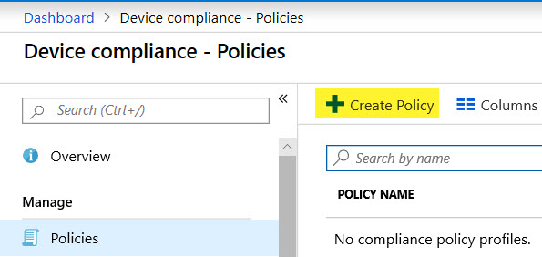 Configure Device Compliance Policy for Min OS version via